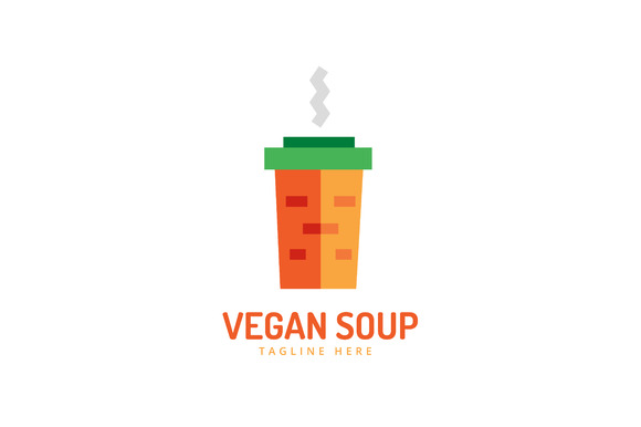 Vegan Carrot Eco Soup Pack Logo Icon