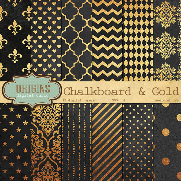 Chalkboard And Gold Digital Paper