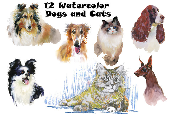 Watercolor Dogs And Cats