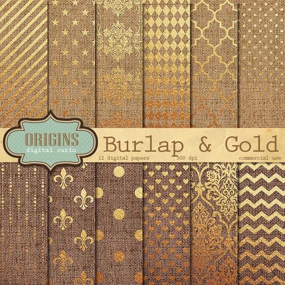 Burlap And Gold Digital Paper