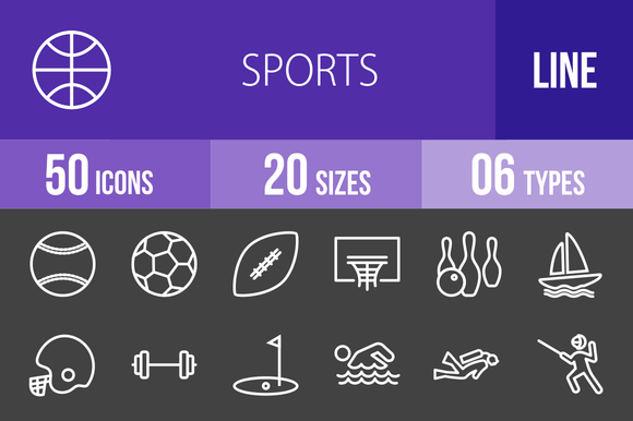 50 Sports Line Inverted Icons