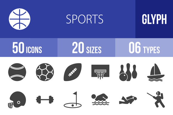 50 Sports Glyph Icons