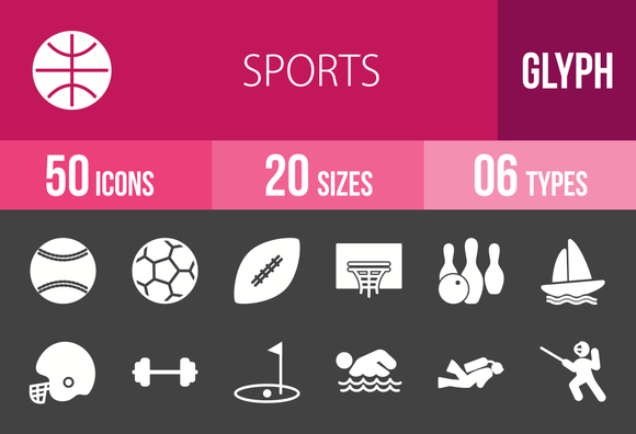 50 Sports Glyph Inverted Icons