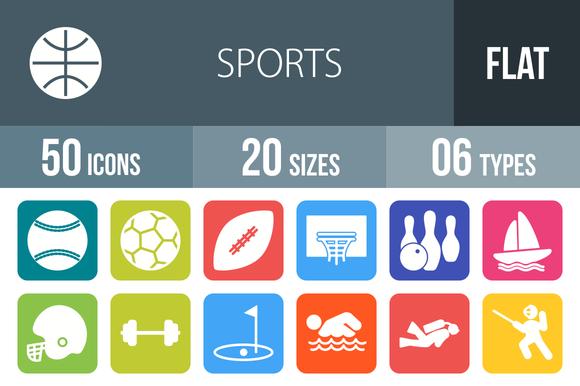 50 Sports Flat Round Corner Icons