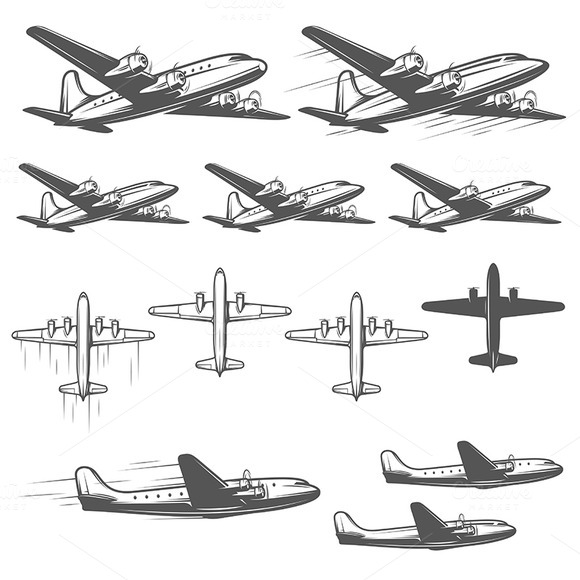 Vintage Airplanes Set