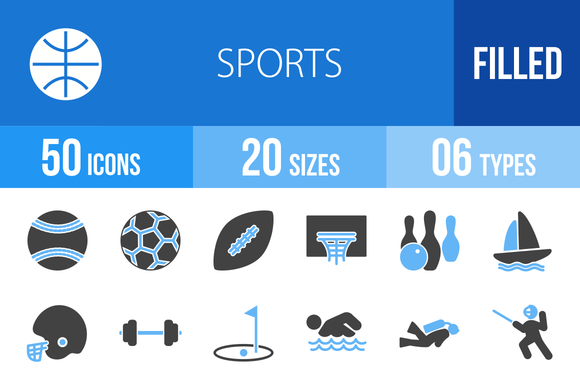 50 Sports Blue Black Icons