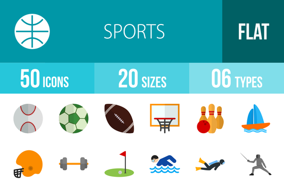 50 Sports Flat Multicolor Icons
