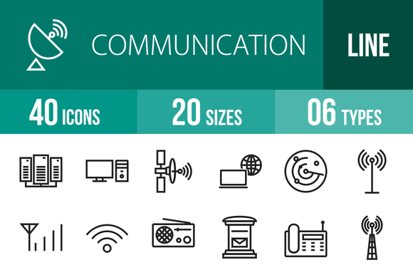 40 Communication Line Icons