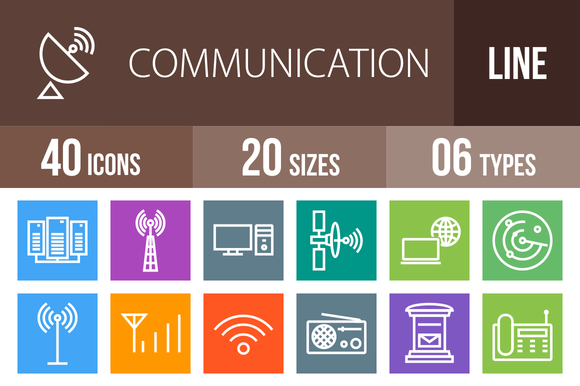 40 Communication Multicolor Icons