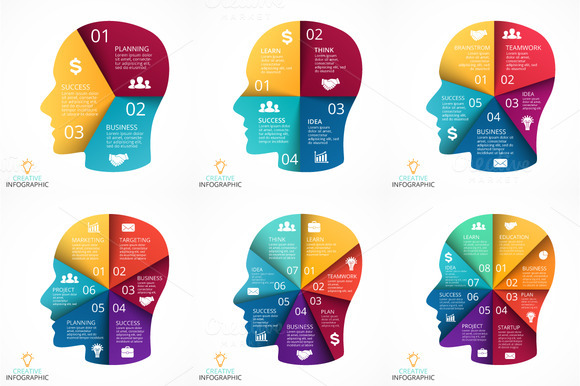 6 Infographics With Human Face V2