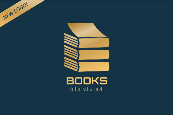 Book Stack Template Logo Icon Gold