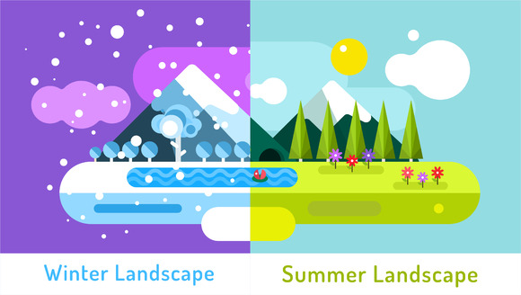 Summer And Winter Outdoor Landscape