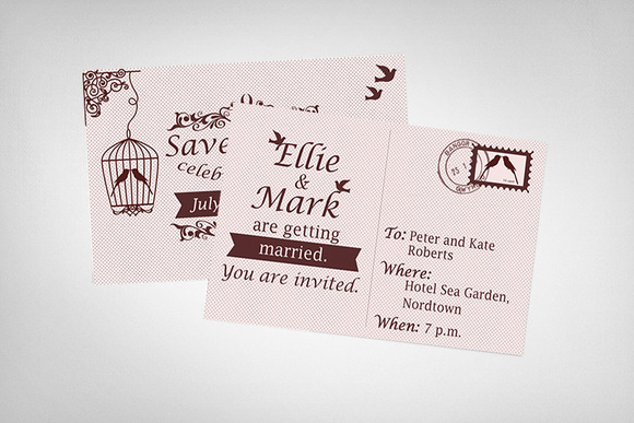 Postcard Wedding Invitation