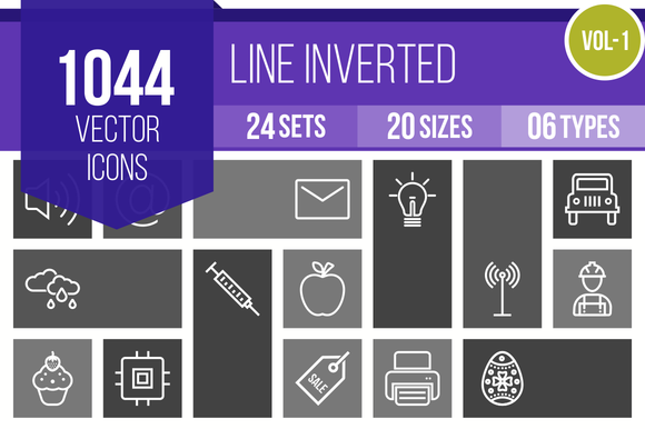 1000 Line Inverted Icons
