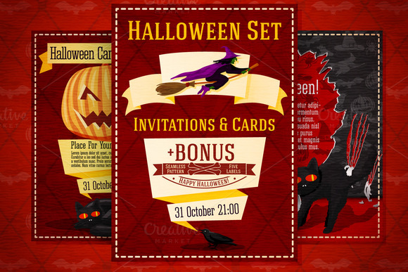 Halloween Invitations Set Bonus