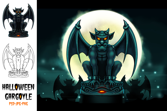 Halloween Gargoyle Illustration