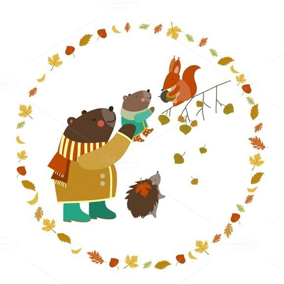 Animals Walking In Autumn Forest
