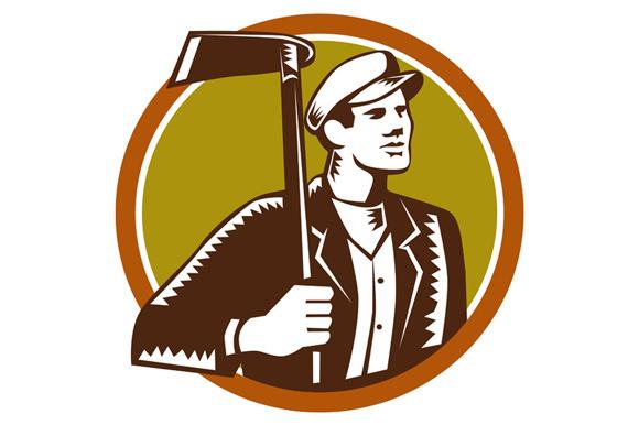 Gardener Landscaper Grub Hoe Woodcut