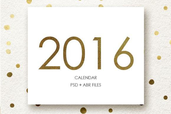 2016 Calendar Brush And Template