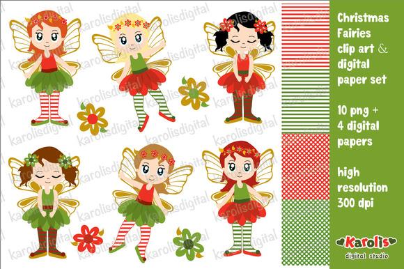 Christmas Fairies Clip Art Set