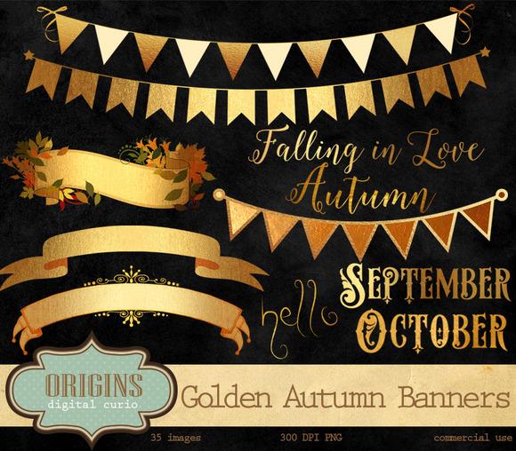 Golden Autumn Banners Frames