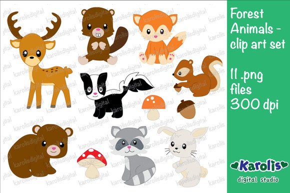 Forest Animals Clip Art Set
