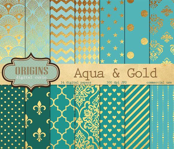 Aqua And Gold Digital Paper Pack