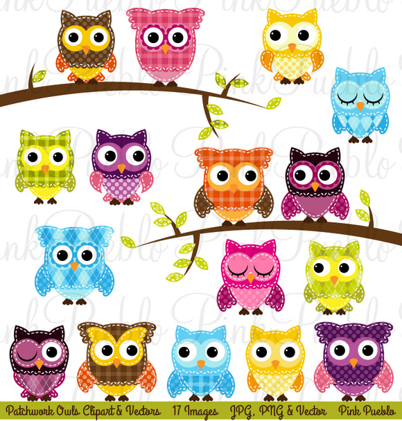Patchwork Owls Clipart And Vectors