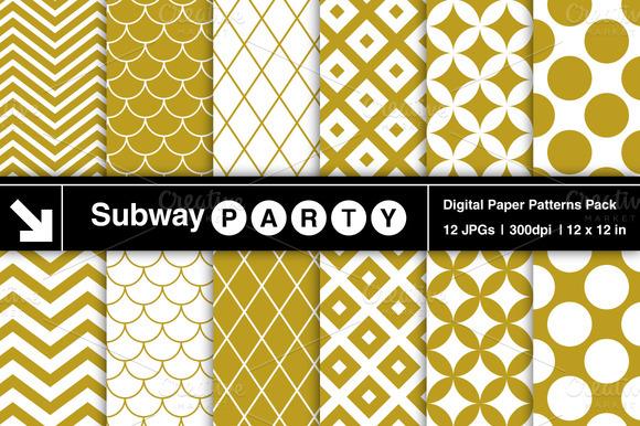 Gold White Retro Geometric Pattern