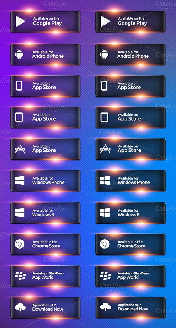 Stylish Glass App Buttons