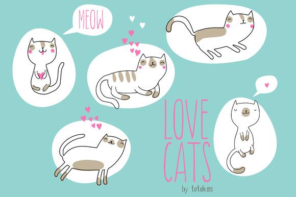 Cute Cartoon Cats In Love