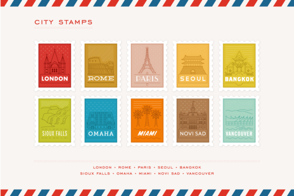 City Stamp Illustrations