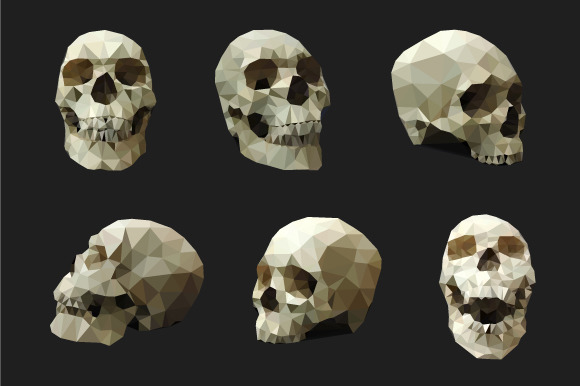 Polygonal Human Skull Vector Set