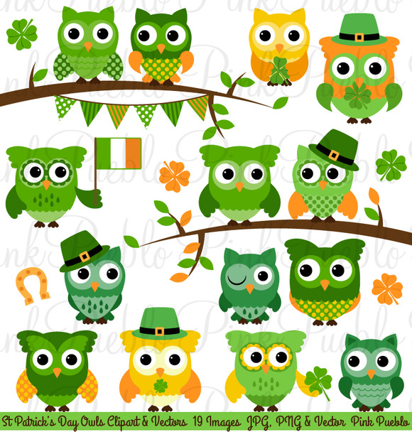 St Patricks Day Owl Clipart Vectors