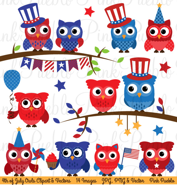 Fourth Of July Owl Clipart Vectors
