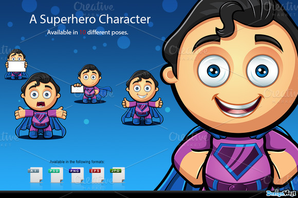 Superhero Character Blue Purple