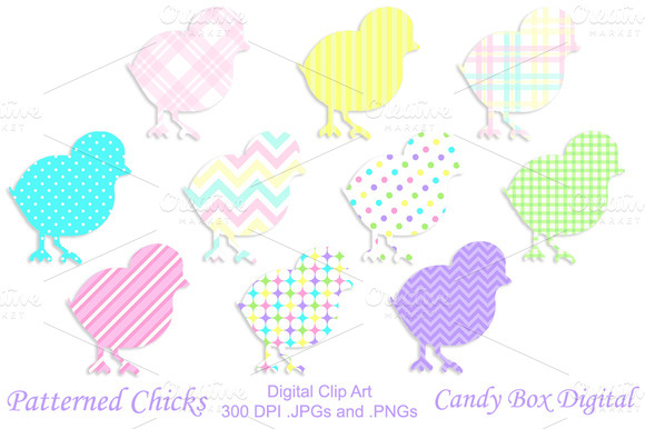 Patterned Chicks Clip Art