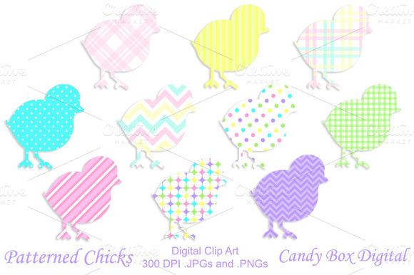 Patterned Chicks Clip Art