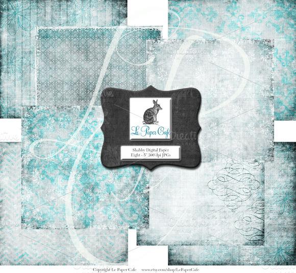 Teal Background Digital Paper Set #1