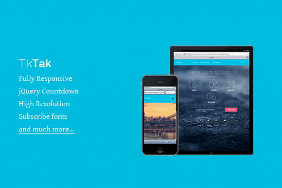 TikTak Coming Soon Responsive HTML