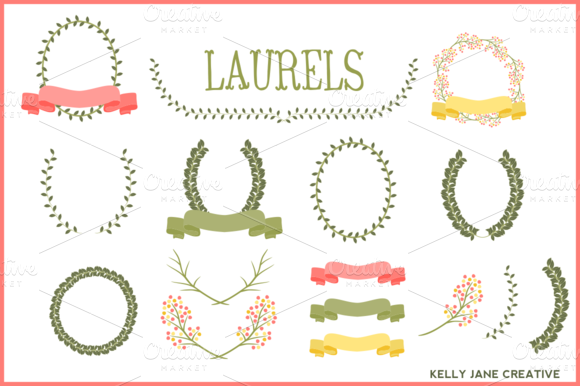 Laurels Ribbons Wreaths Vector