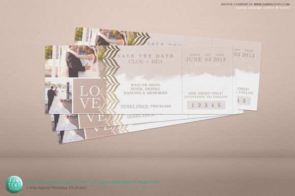 2x5.5 Save The Date Love Ticket Psd