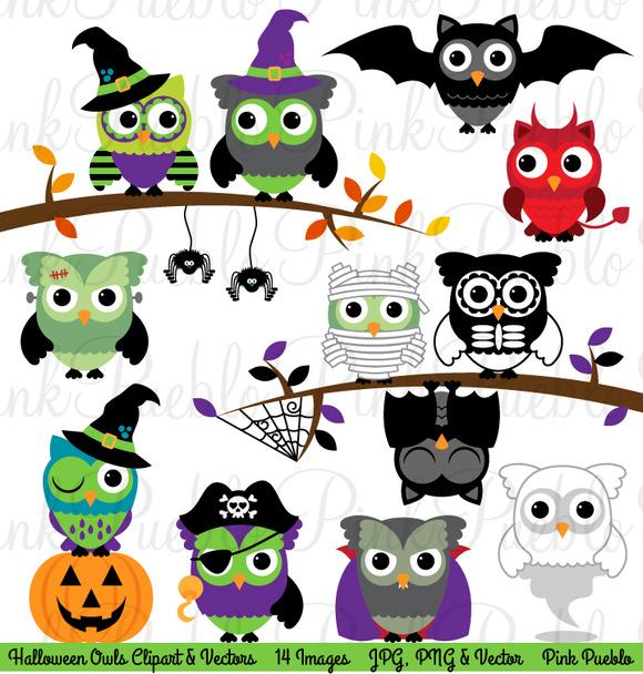 Happy Halloween Owl Clipart Vector