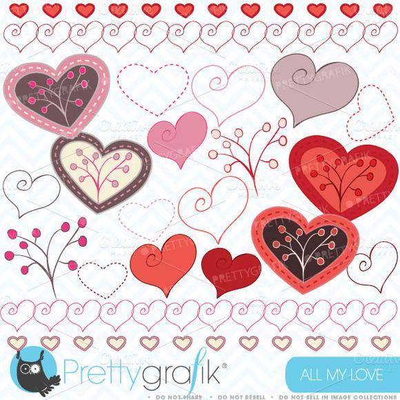 Hearts Digital Clipart For Scrapbook