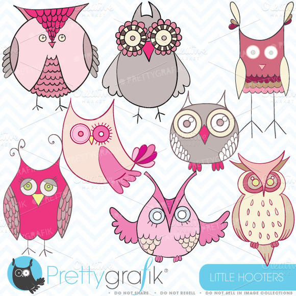 Pink Owl Clipart Commercial Use