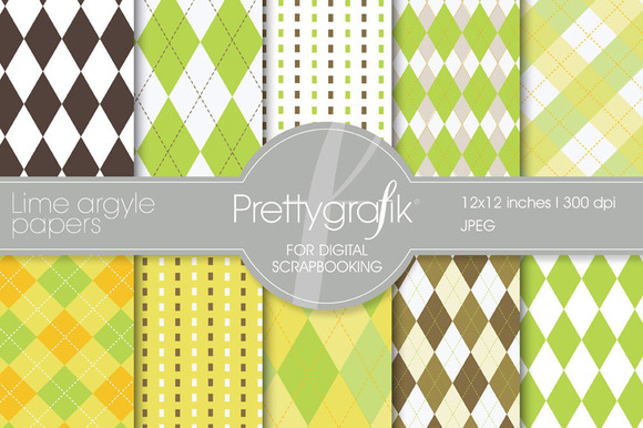 Lime Argyle Digital Paper