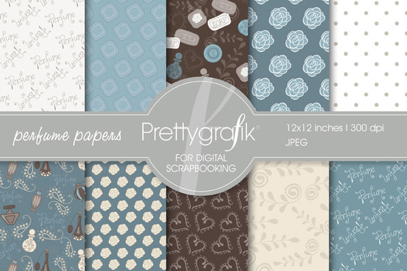Perfume Digital Scrapbook Papers Set