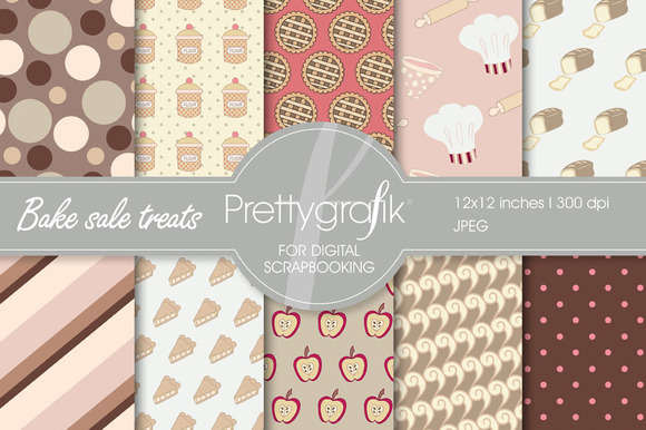 Bake Sale Digital Paper Commercial