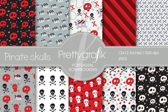 Pirate Skulls Digital Paper