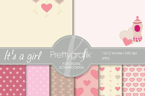 Baby Girl Digital Paper Commercial